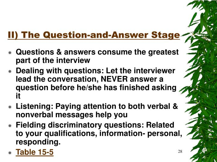 II) The Question-and-Answer Stage