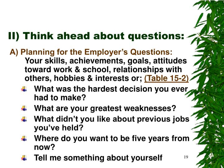II) Think ahead about questions: