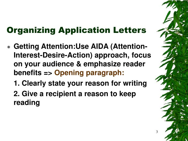 Organizing application letters