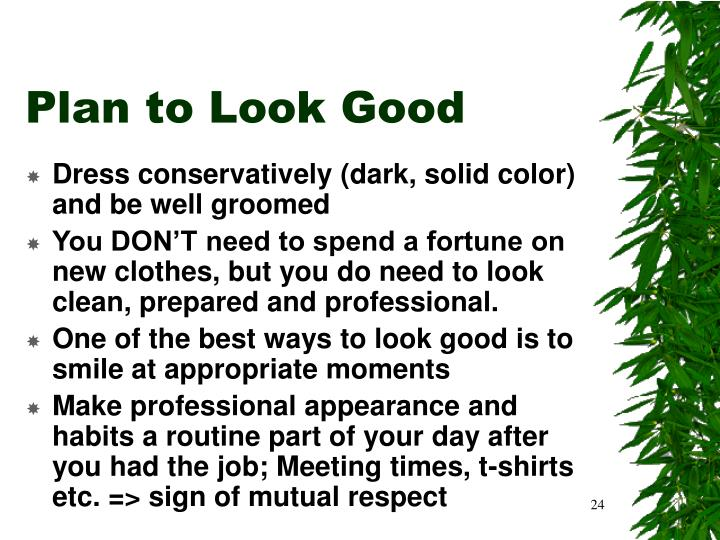 Plan to Look Good