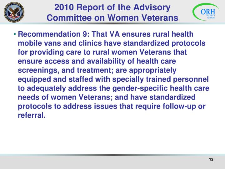 2010 Report of the Advisory Committee on Women Veterans
