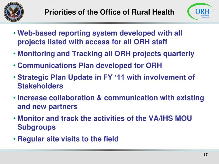 Priorities of the Office of Rural Health
