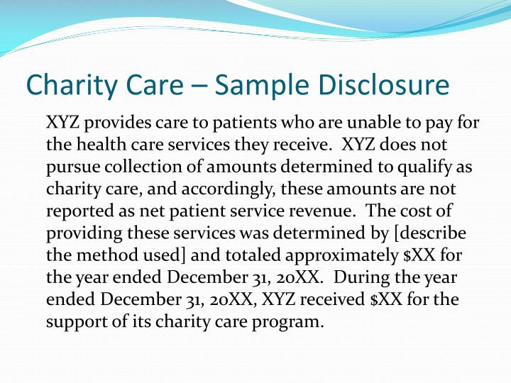 Charity Care – Sample Disclosure