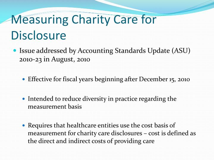 Measuring Charity Care for Disclosure