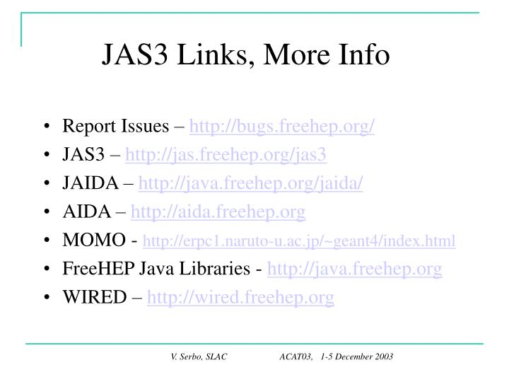 JAS3 Links, More Info