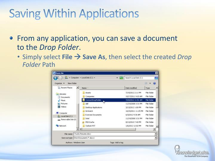 Saving Within Applications