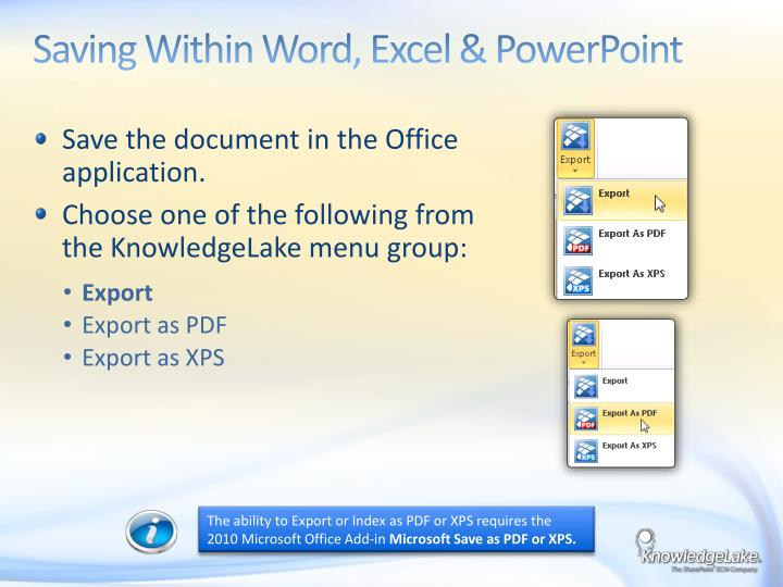 Saving Within Word, Excel & PowerPoint