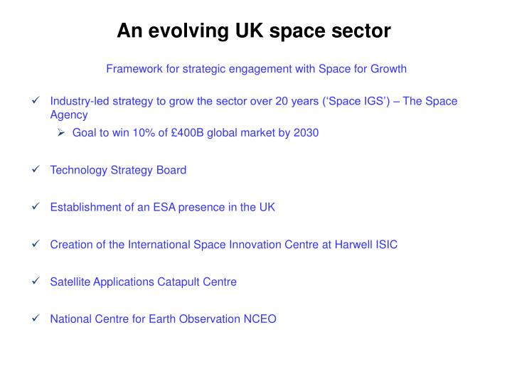 An evolving UK space sector