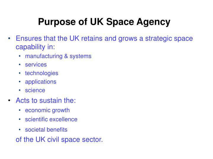 Purpose of UK Space Agency