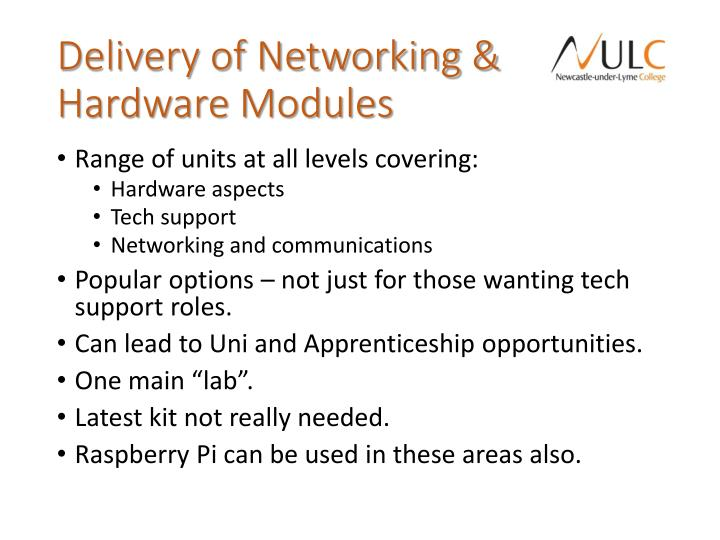 Delivery of Networking & Hardware Modules