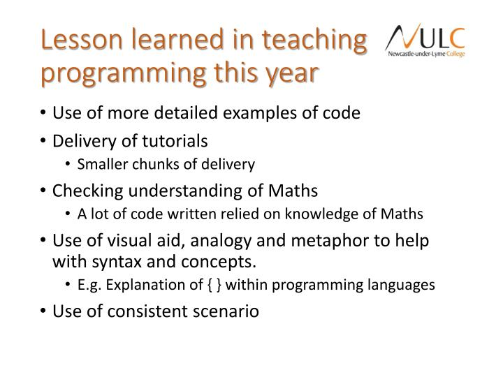 Lesson learned in teaching programming this year