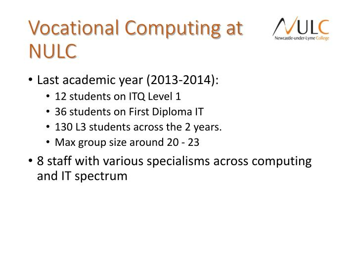 Vocational Computing at NULC