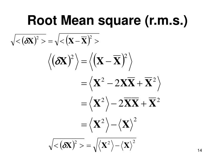 Root Mean square (r.m.s.)