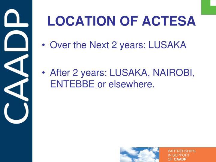 LOCATION OF ACTESA