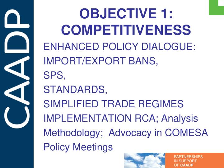 OBJECTIVE 1: COMPETITIVENESS