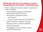briefly describe the core projects your group would design for the center please dream big