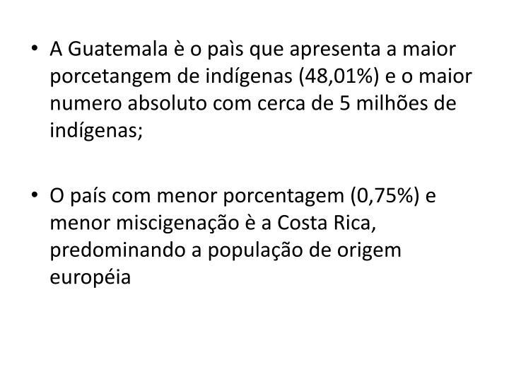 A Guatemala è o paìs que apresenta a maior porcetangem de indígenas (48,01%) e o maior numero absoluto com cerca de 5 milhões de indígenas;