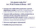 gli obiettivi della pac art 39 del trattato di roma 1957