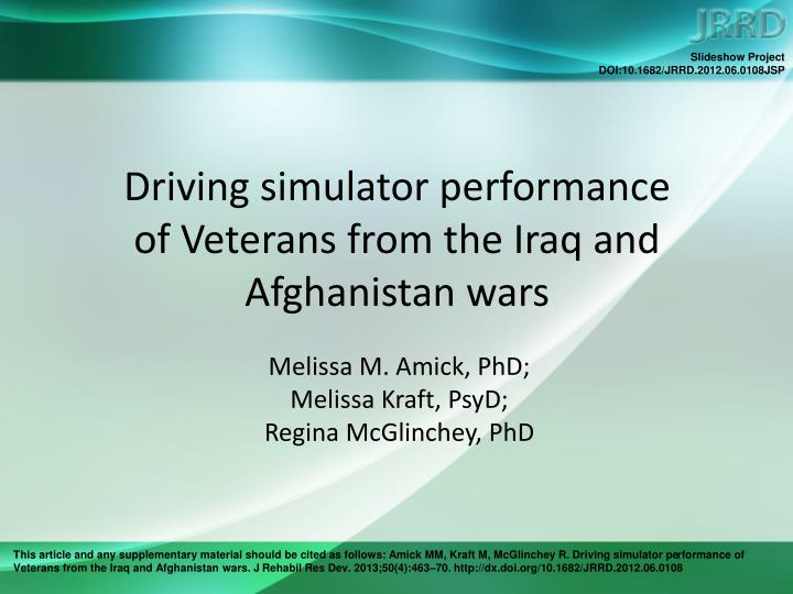 driving simulator performance of veterans from the iraq and afghanistan wars n.