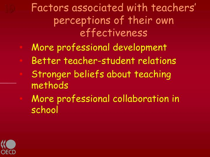 Factors associated with teachers' perceptions of their own effectiveness