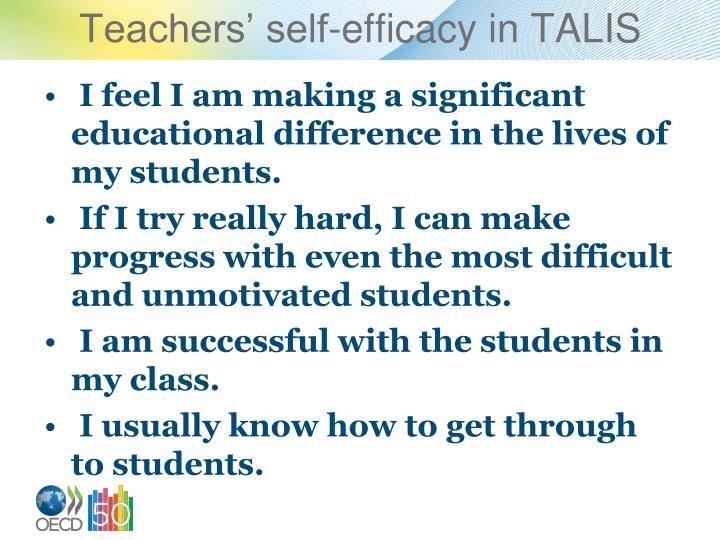 Teachers self efficacy in talis
