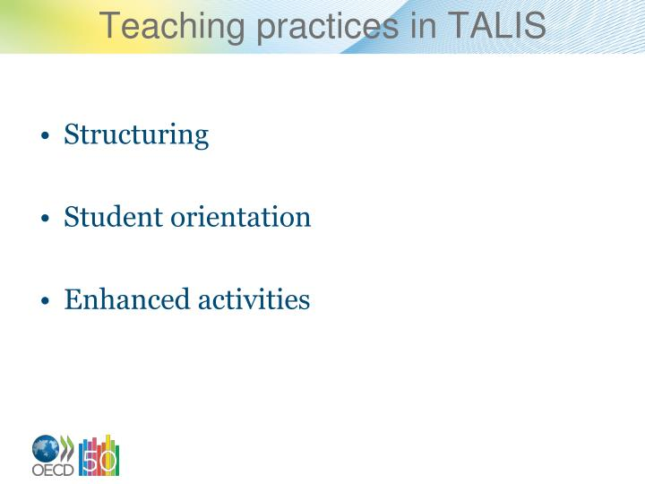 Teaching practices in TALIS