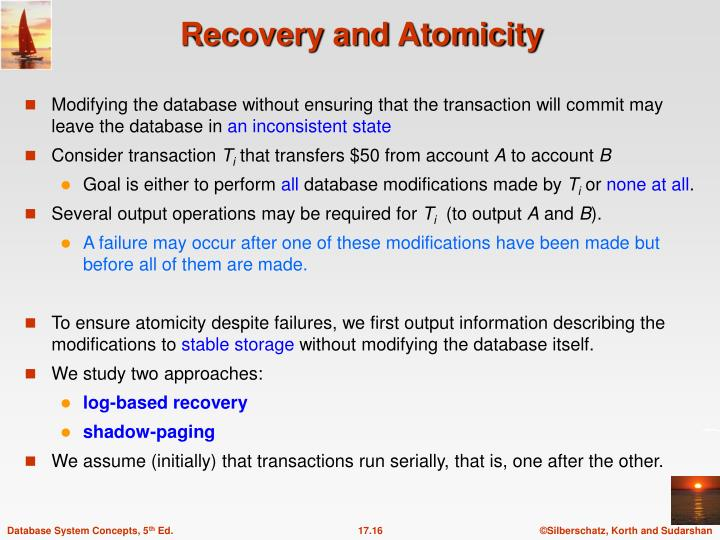Modifying the database without ensuring that the transaction will commit may leave the database in