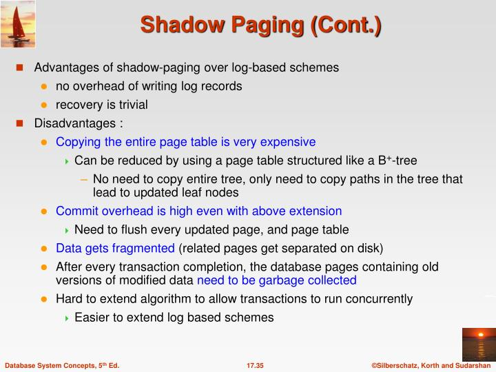 Advantages of shadow-paging over log-based schemes