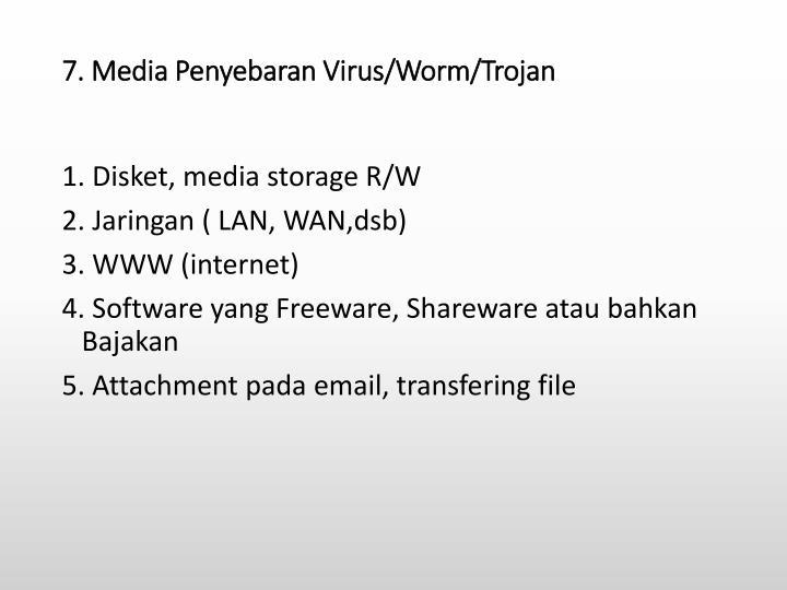 7. Media Penyebaran Virus/Worm/Trojan