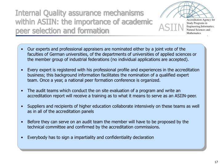 Internal Quality assurance mechanisms within ASIIN: the importance of academic peer selection and formation