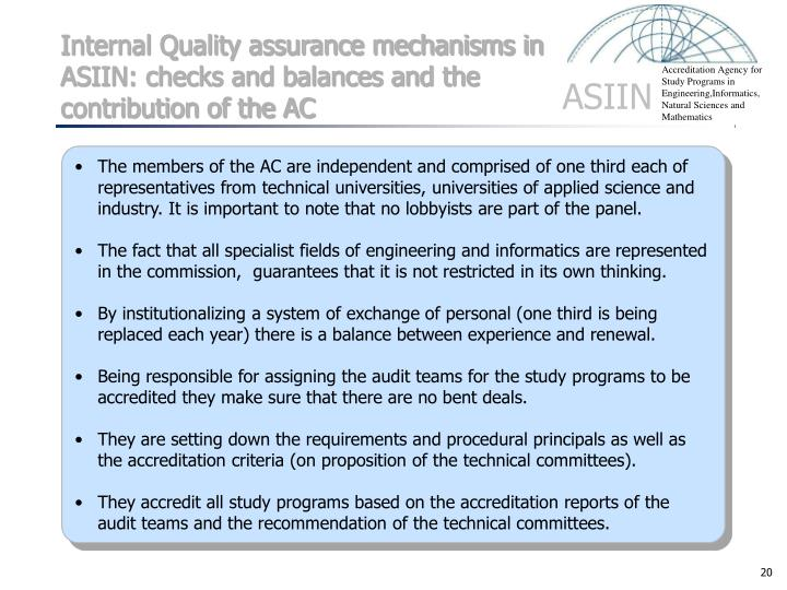 Internal Quality assurance mechanisms in ASIIN: checks and balances and the contribution of the AC
