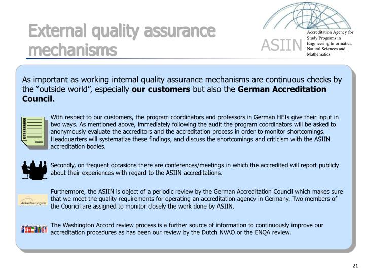 External quality assurance mechanisms
