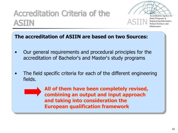 Accreditation Criteria of the ASIIN