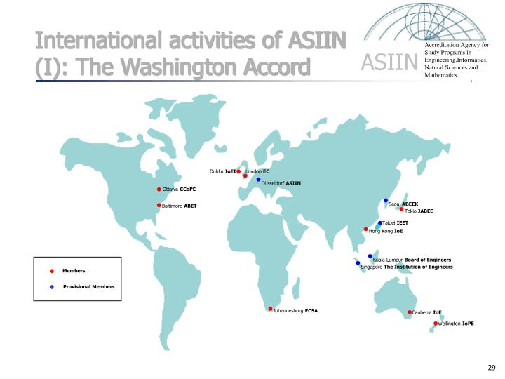 International activities of ASIIN (I): The Washington Accord