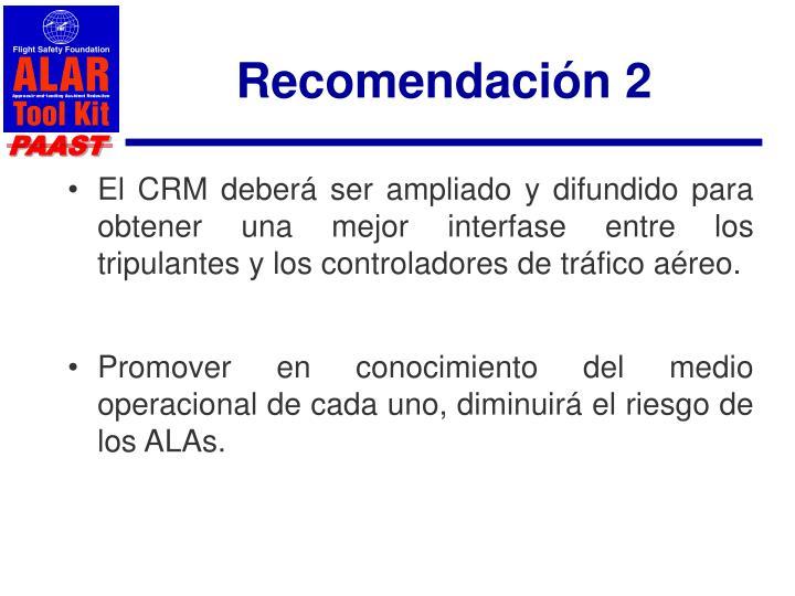 Recomendación 2