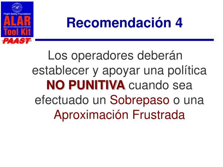 Recomendación 4