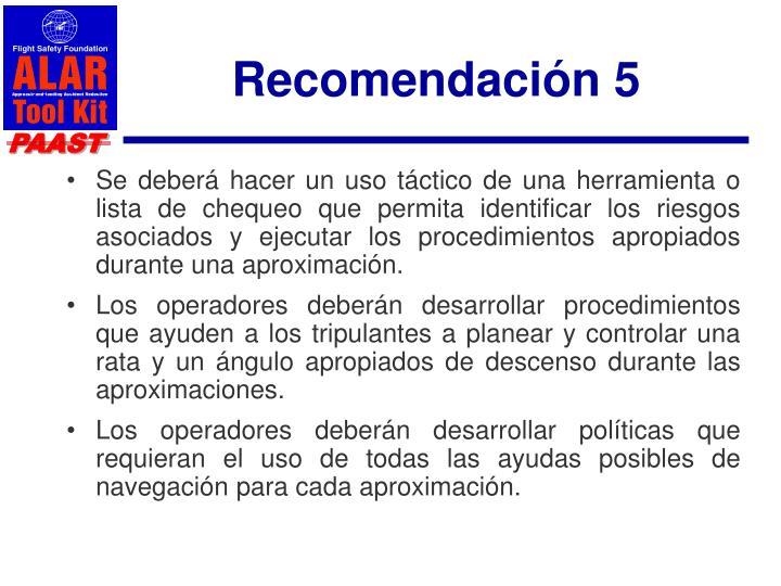 Recomendación 5