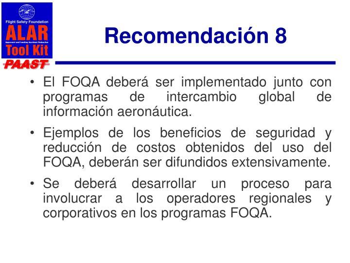 Recomendación 8