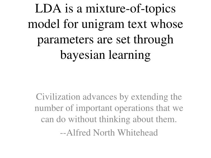 LDA is a mixture-of-topics model for unigram text whose parameters are set through