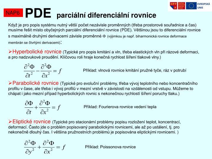 Pde parci ln diferenci ln rovnice