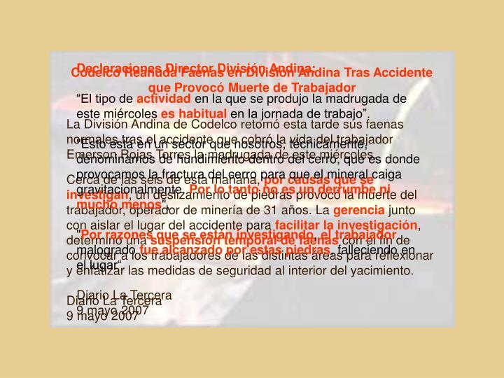 Declaraciones Director División Andina: