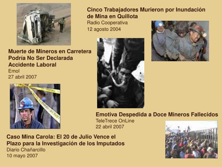 Cinco Trabajadores Murieron por Inundación de Mina en Quillota