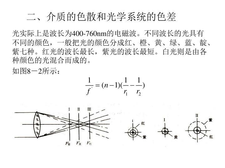 二、介质的色散和光学系统的色差