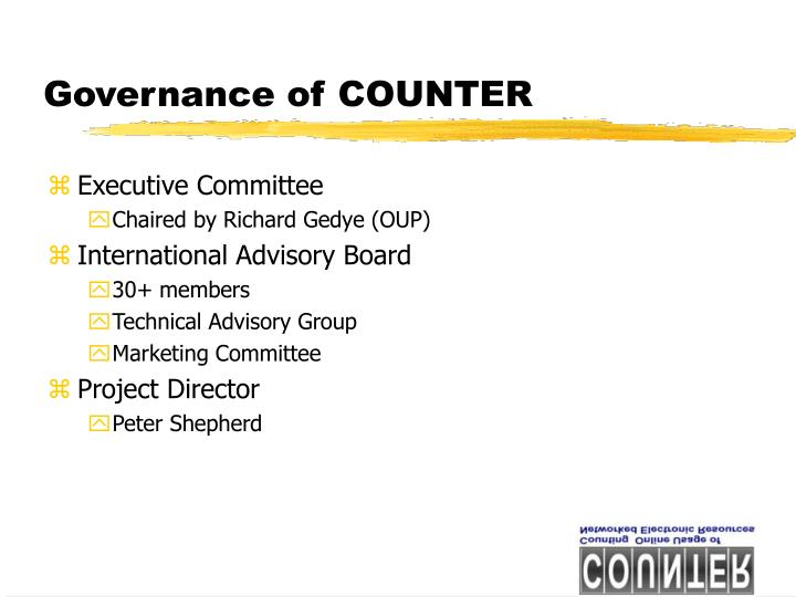 Governance of COUNTER