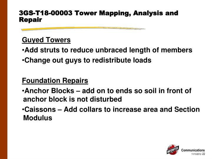 3GS-T18-00003 Tower Mapping, Analysis and Repair