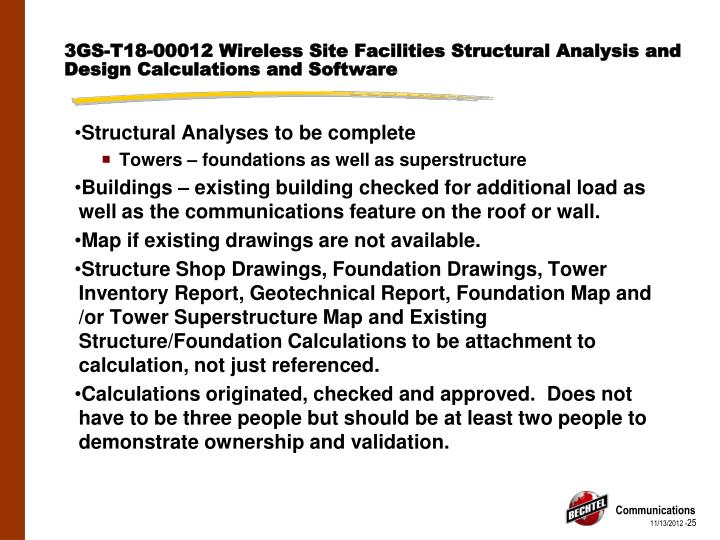 3GS-T18-00012 Wireless Site Facilities Structural Analysis and Design Calculations and Software