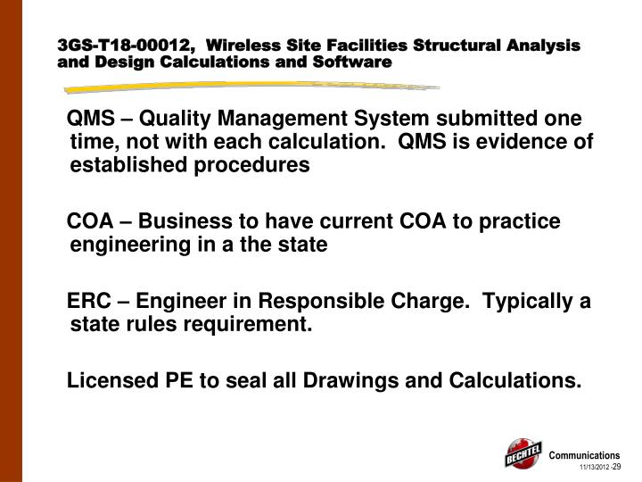 3GS-T18-00012,  Wireless Site Facilities Structural Analysis and Design Calculations and Software