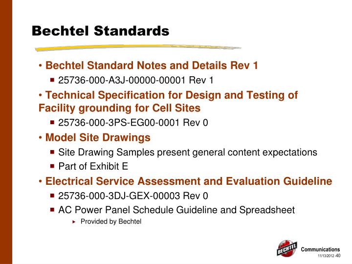 Bechtel Standards