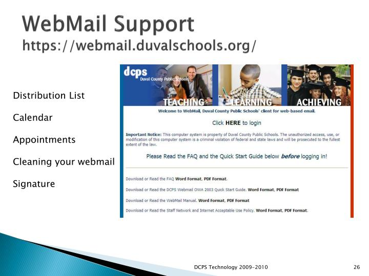 WebMail Support