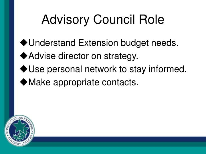 Advisory Council Role